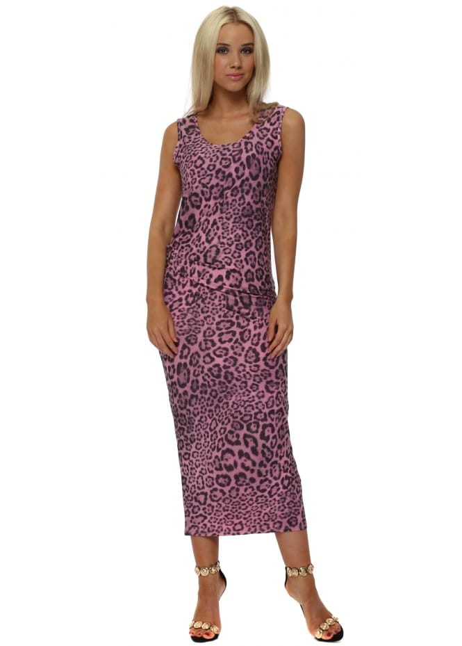 A Postcard From Brighton Brittany Big Kat Leopard Print Pencil Dress In Passion