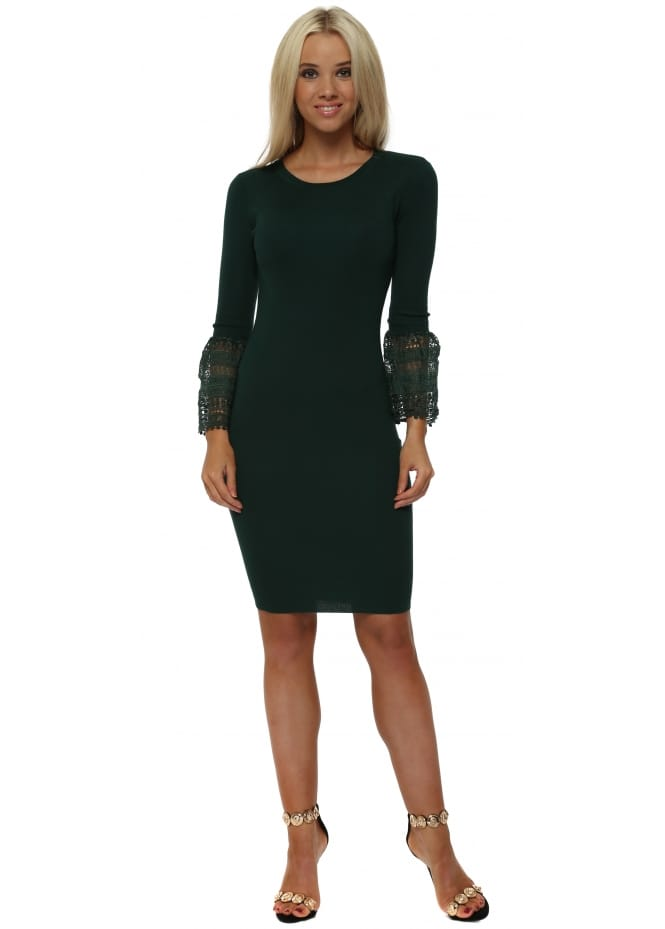 Drole de Copine Green Knitted Midi Dress With Bell Lace Cuffs