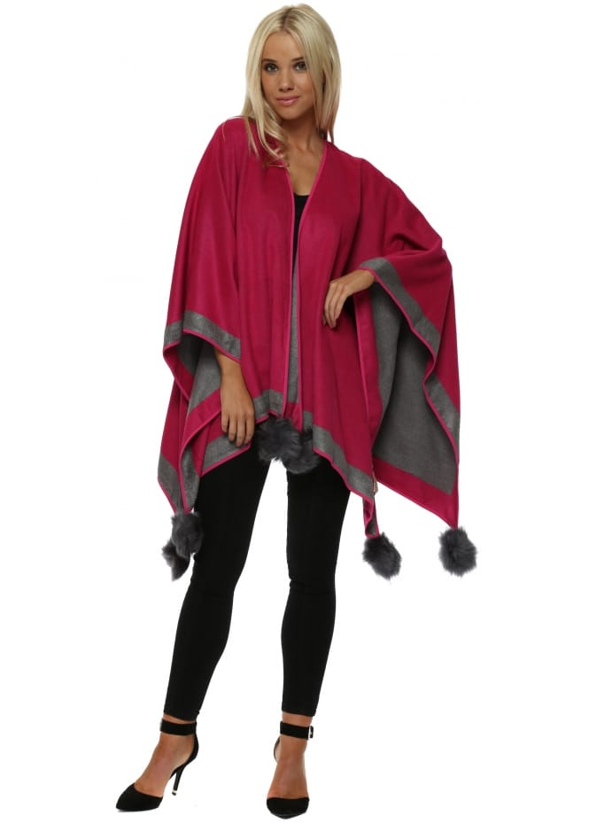 JayLey Fucshia Colour Block Reversible Pom Pom Cashmere Cape