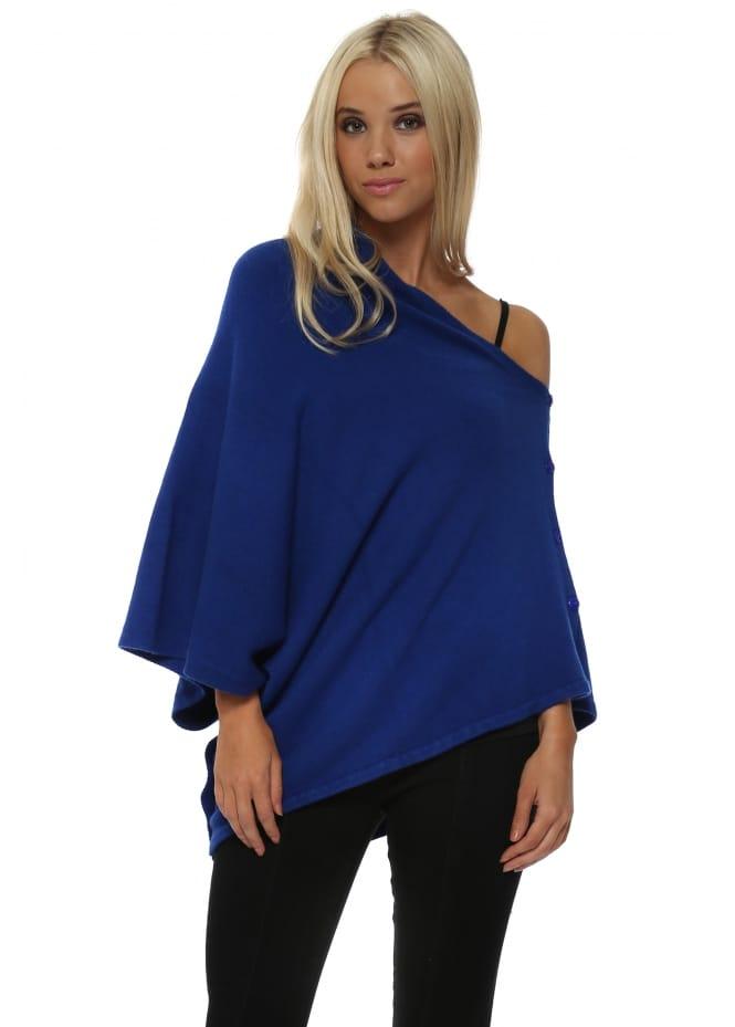 Sugar Babe Cobalt Blue Knitted Button Poncho