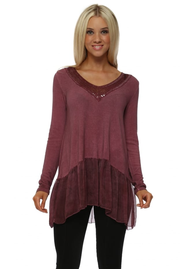 Made In Italy Raspberry Sequin V-Neck Trim Top With Silk Frill