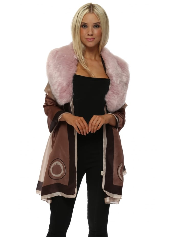 JayLey Pink & Brown Swirl Faux Fur Collar Silk Wrap