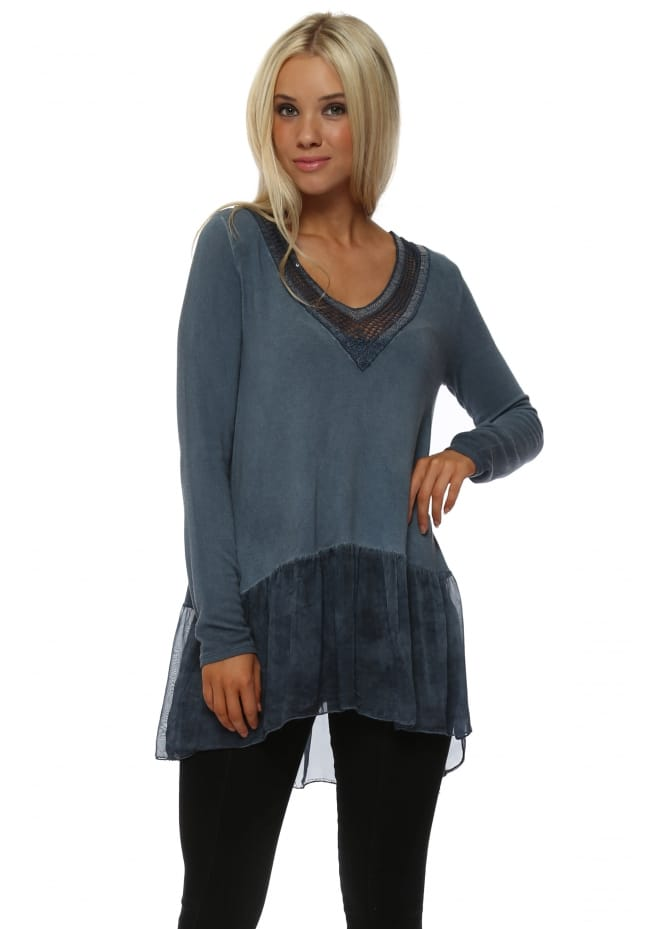 Made In Italy Denim Blue Sequin V-Neck Trim Top With Silk Frill