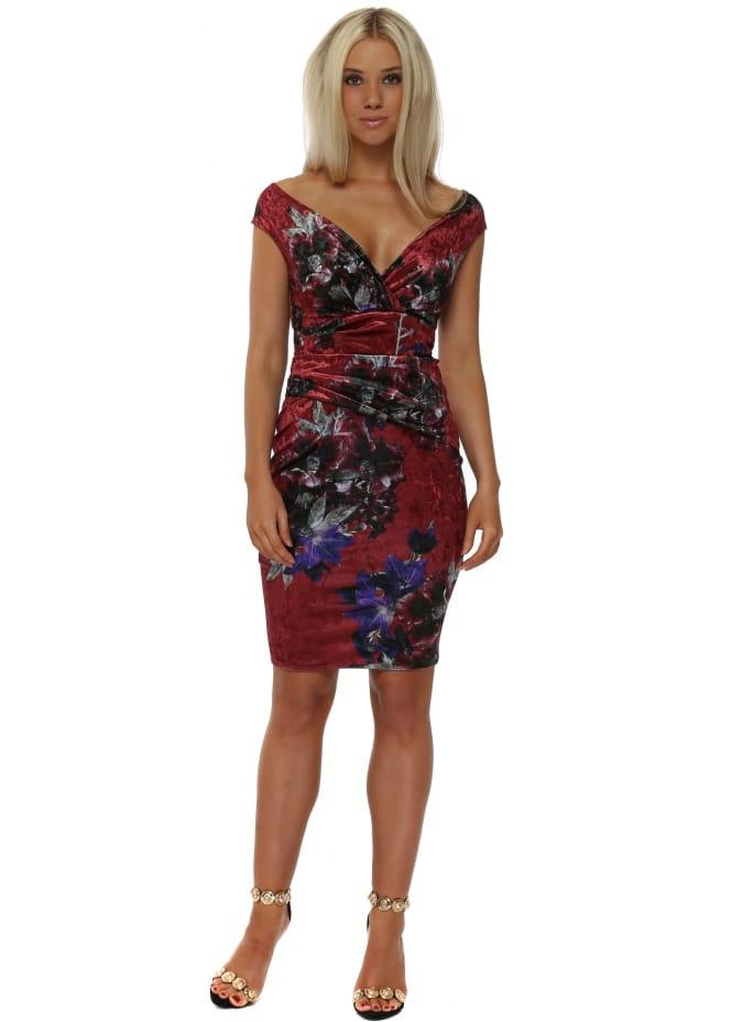 Goddess London Rouge Red Bardot Velvet Floral Midi Dress
