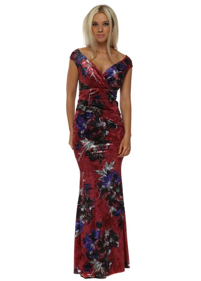 Goddess London Rouge Red Bardot Velvet Floral Print Maxi Dress