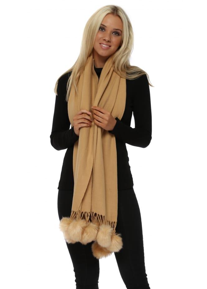 JayLey Camel Cashmere Faux Fur Pom Pom Wrap