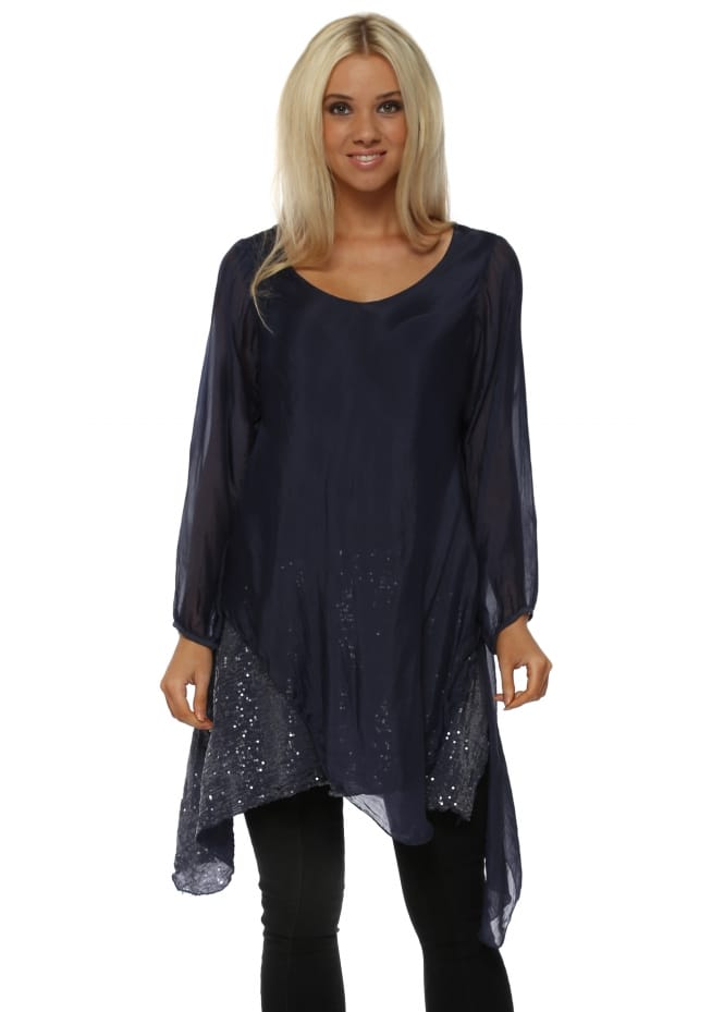 Made In Italy Navy Blue Silk Waterfall Sequinned Tunic Top