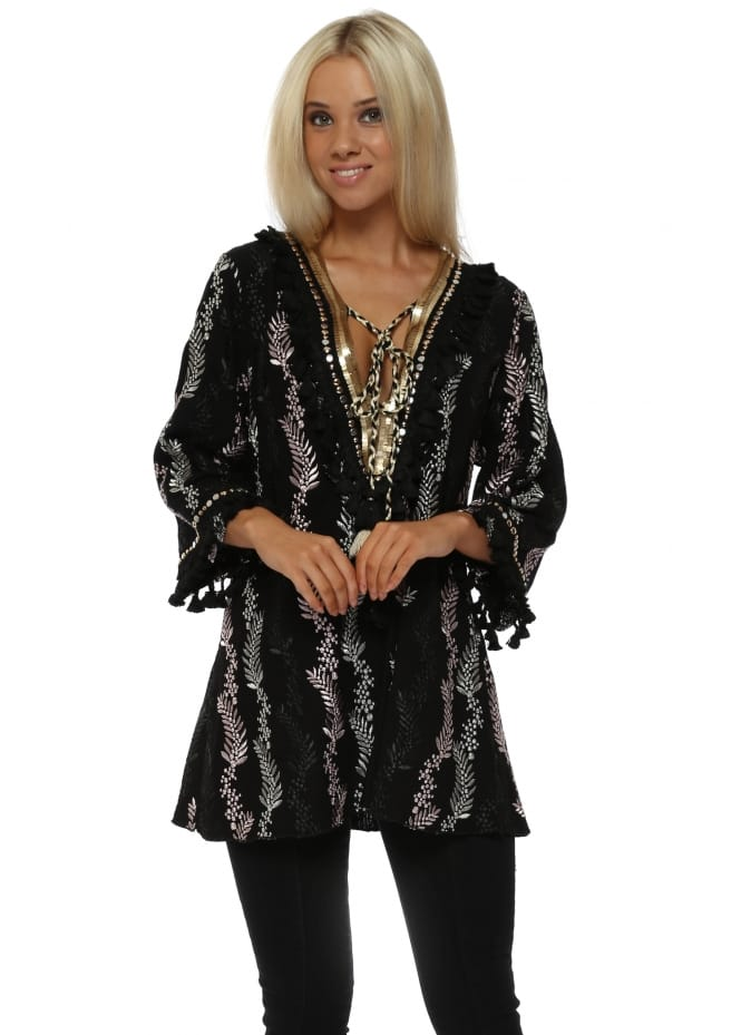 Laurie & Joe Black Bloom Embroidered Gold Embellished Tunic Top