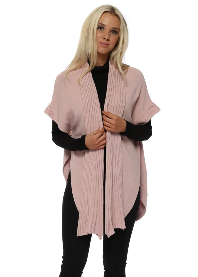 Italian Boutique Baby Pink Button Side Open Cape Cardigan
