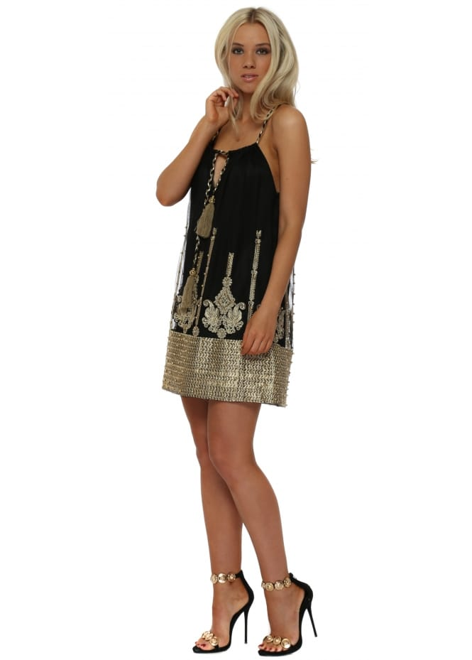 My Story Black Tulle Gold Embroidered Beaded Mini Dress