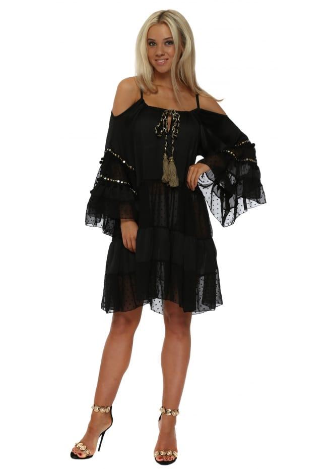 My Story Black Chiffon Cold Shoulder Dress