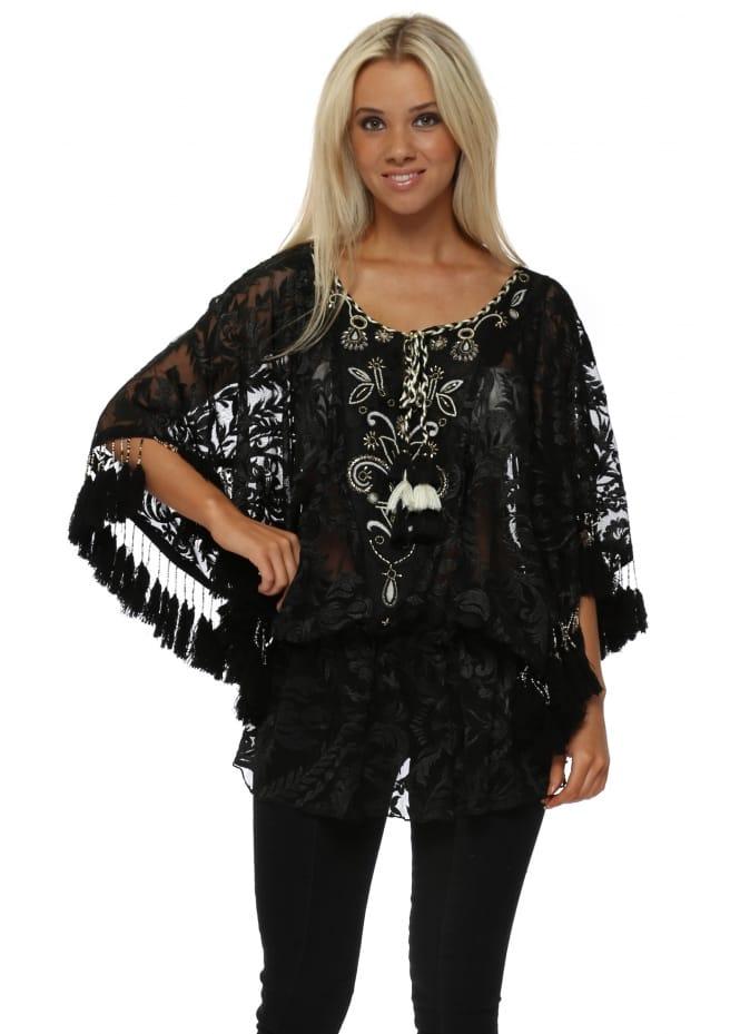 Laurie & Joe Black Floral Tulle Embroidered Tassel Kaftan Top