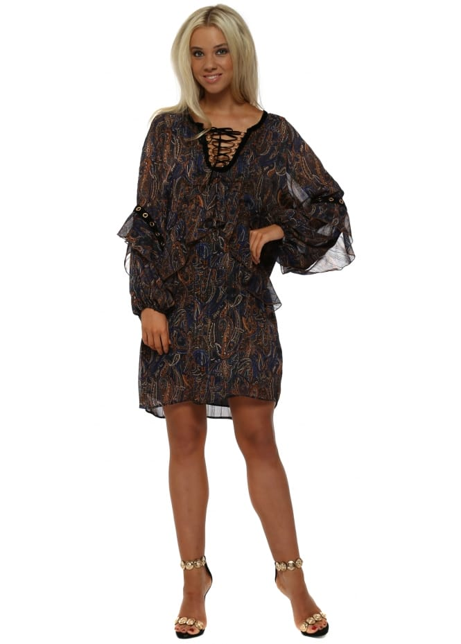 Briefly Blue Paisley Print Ruffle Tunic Dress