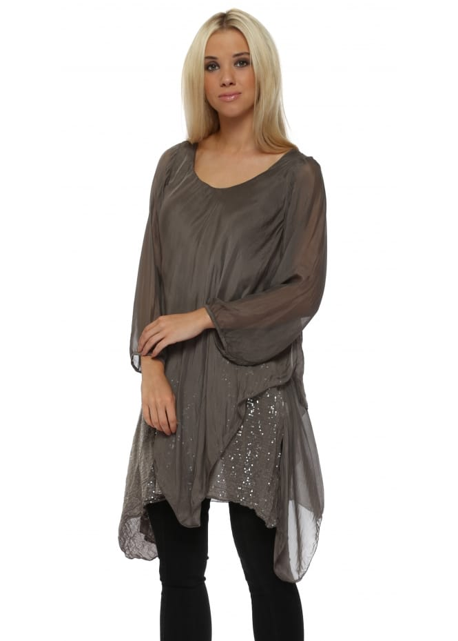 Made In Italy Mocha Silk Waterfall Sequinned Tunic Top