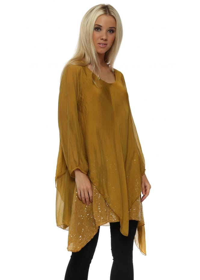 Made In Italy Mustard Silk Waterfall Sequinned Tunic Top