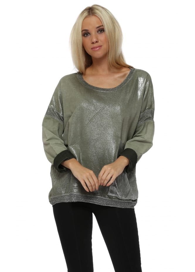 Made In Italy Khaki Metallic Foil Distressed Sweater