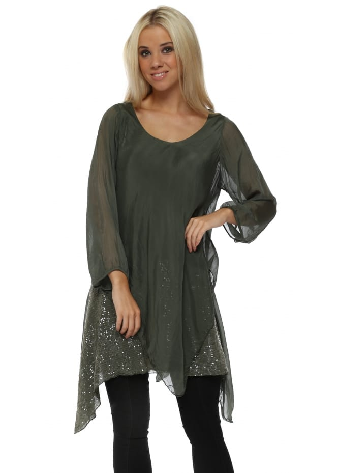 Made In Italy Khaki Silk Waterfall Sequinned Tunic Top