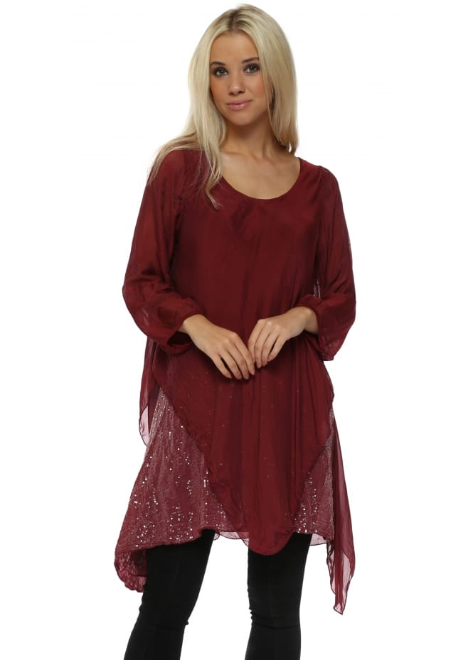 Made In Italy Burgundy Silk Waterfall Sequinned Tunic Top