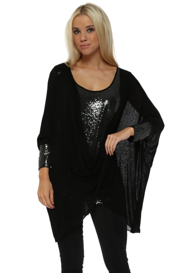 Made In Italy Black Sequinned Cross Over Tunic Top