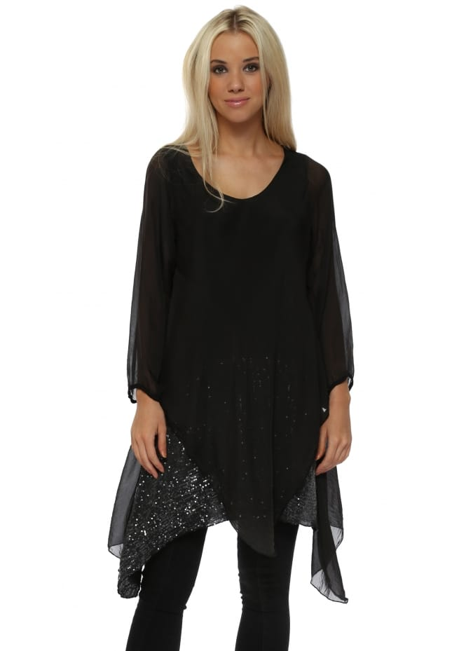 Made In Italy Black Silk Waterfall Sequinned Tunic Top