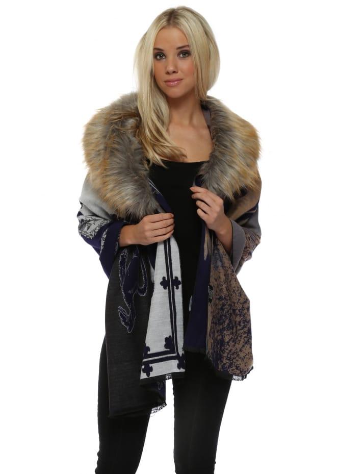 JayLey Regal Lion Faux Fox Fur Collar Luxe Cape