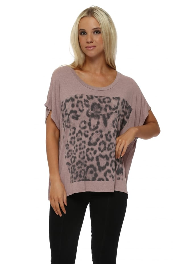 A Postcard From Brighton Giant Leopard Print Tawny Melange Tunic Tee