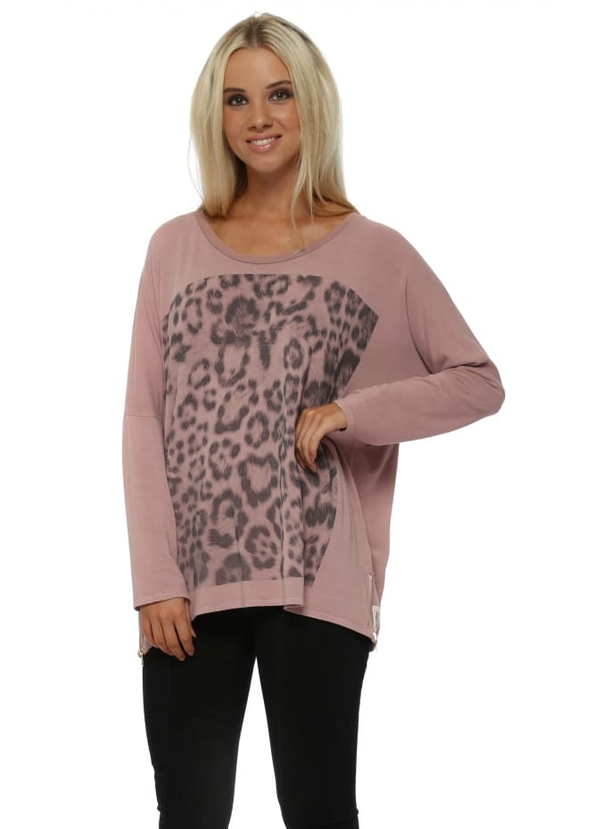 A Postcard From Brighton Zippy Giant Animal Print Sweater In Tawny
