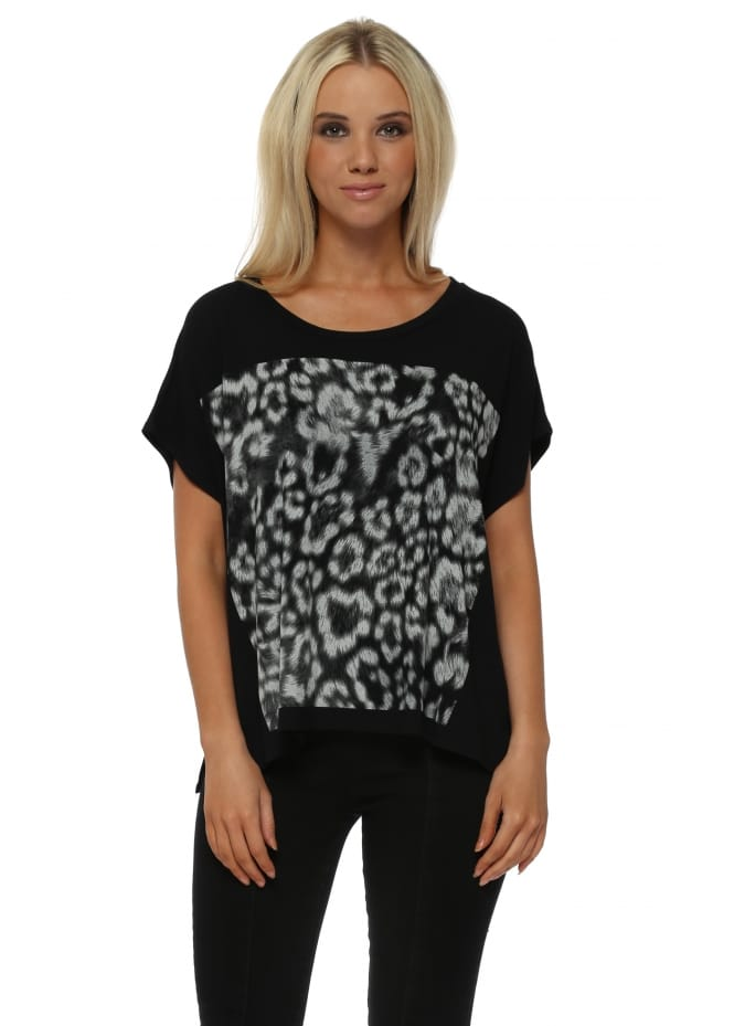 A Postcard From Brighton Giant Leopard Print Black Tunic Tee