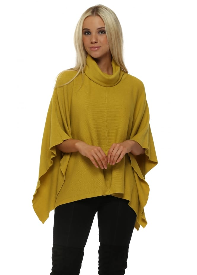 Italian Boutique Lime Ribbed Roll Neck Poncho