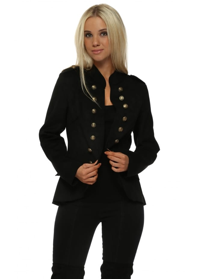 Made In Italy Black Suedette Military Jacket
