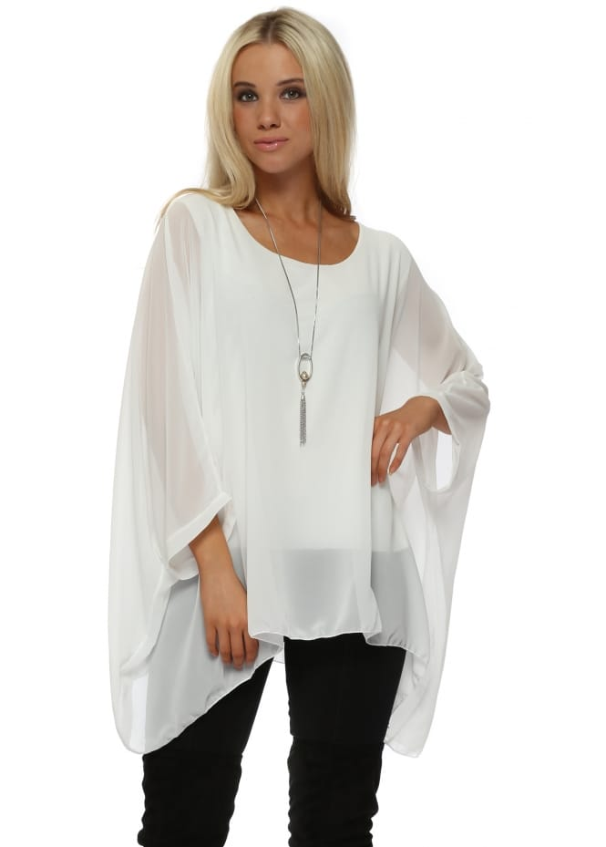 Made In Italy Ivory Chiffon Batwing Pearl Necklace Top