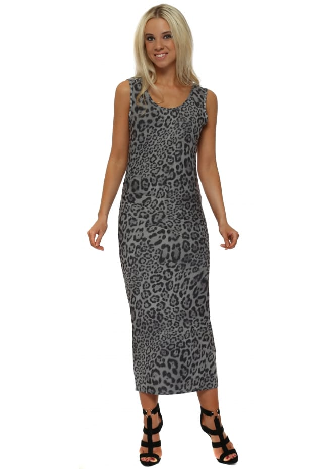 A Postcard From Brighton Brittany Big Kat Leopard Print Pencil Dress In Mouse
