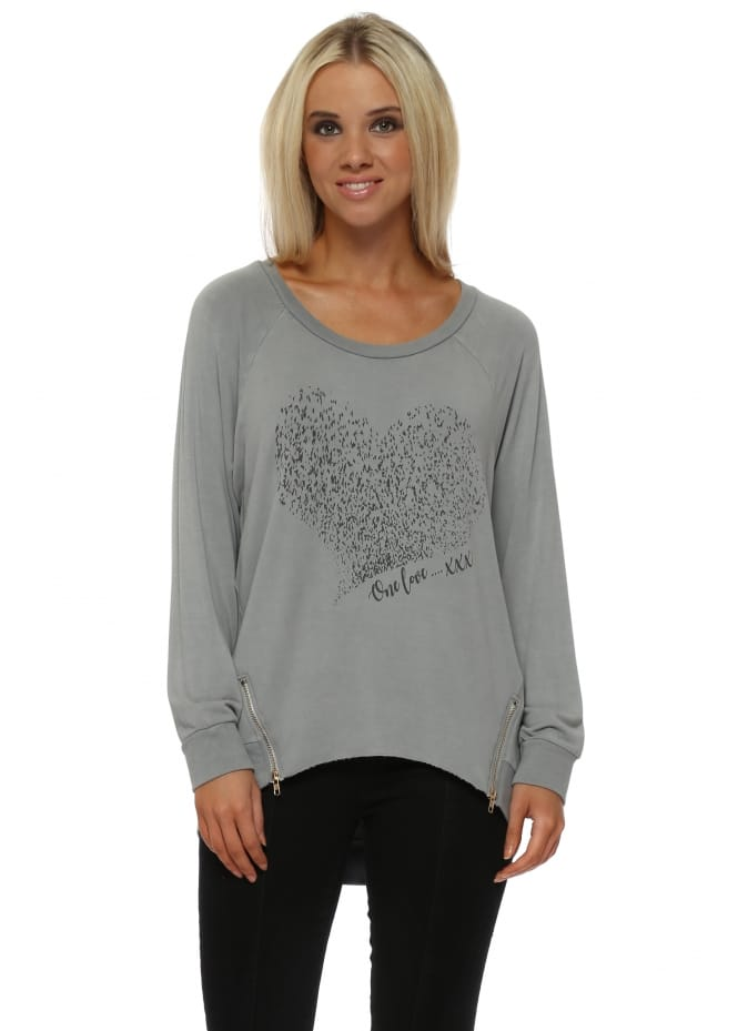A Postcard From Brighton Starling Heart One Love Zip Sweater In Mouse