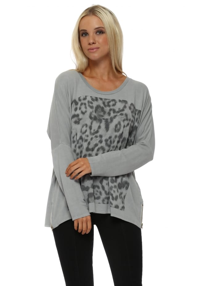 A Postcard From Brighton Zippy Giant Animal Print Sweater In Mouse