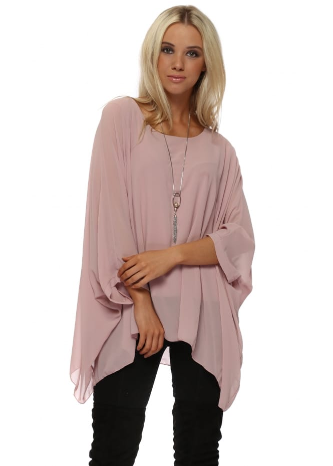 Made In Italy Baby Pink Chiffon Batwing Pearl Necklace Top