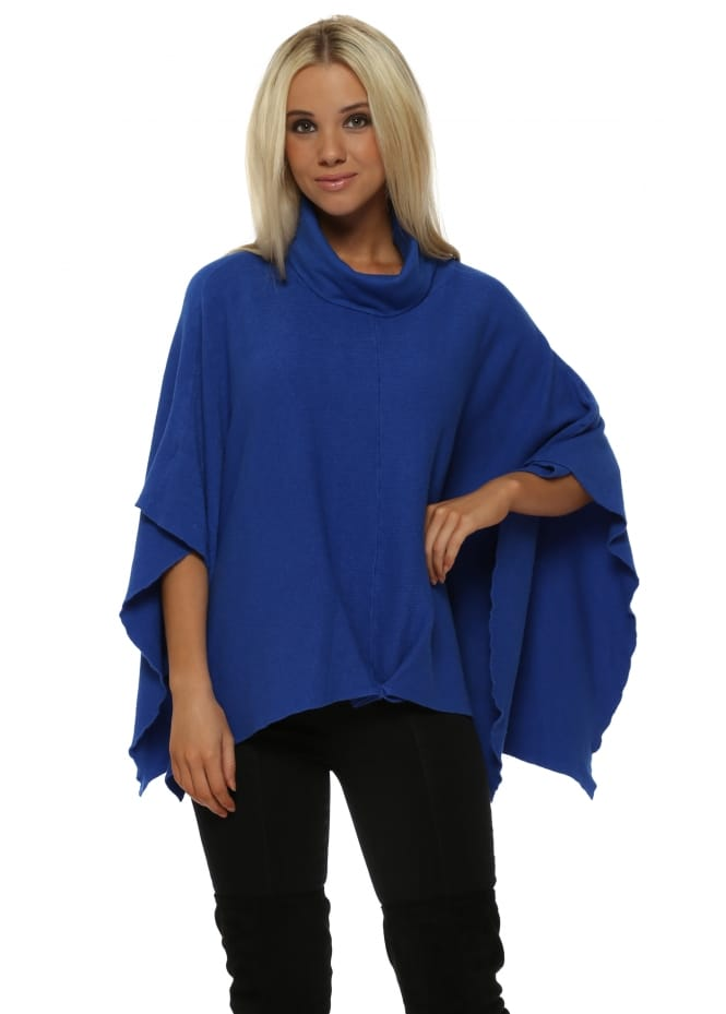 Italian Boutique Cobalt Blue Ribbed Roll Neck Poncho
