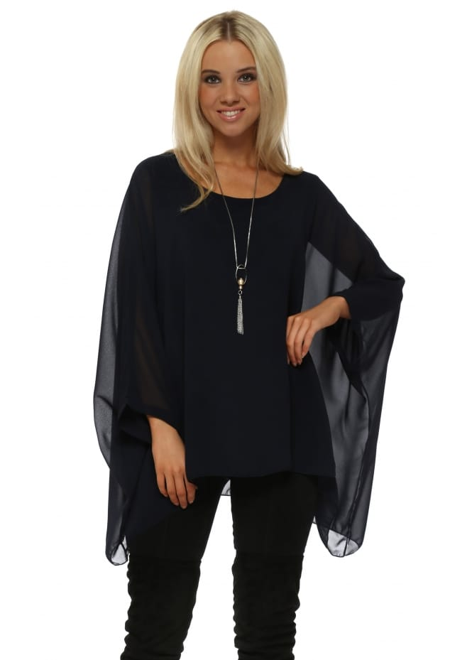 Made In Italy Navy Blue Chiffon Batwing Pearl Necklace Top