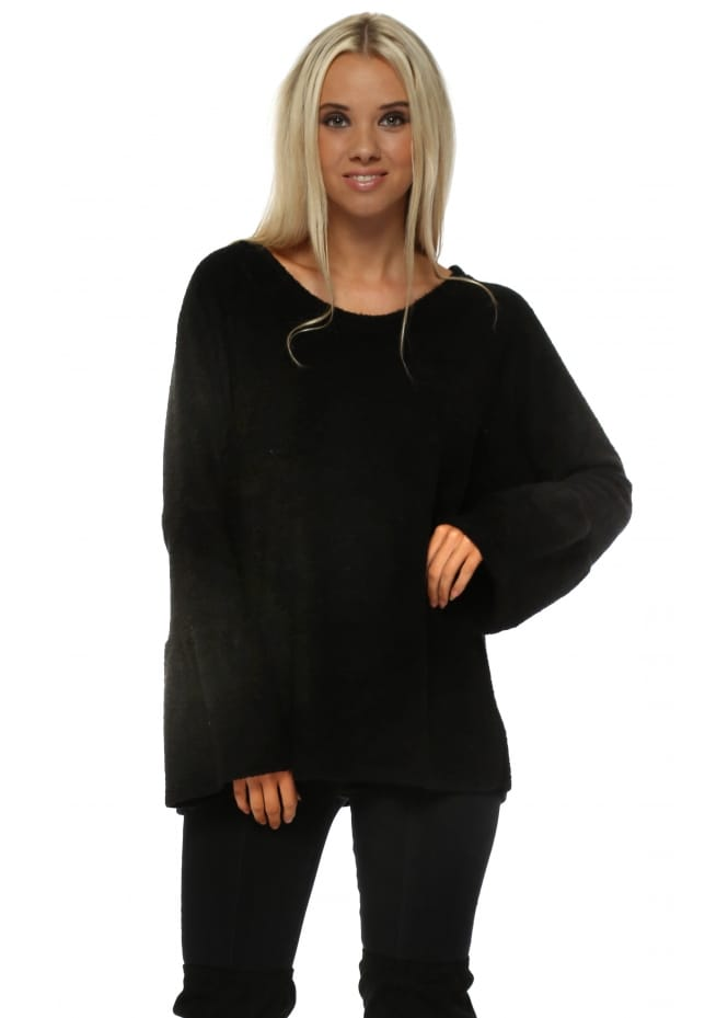 A Postcard From Brighton Chloe Coodle Knit Bell Sleeve Jumper In Black