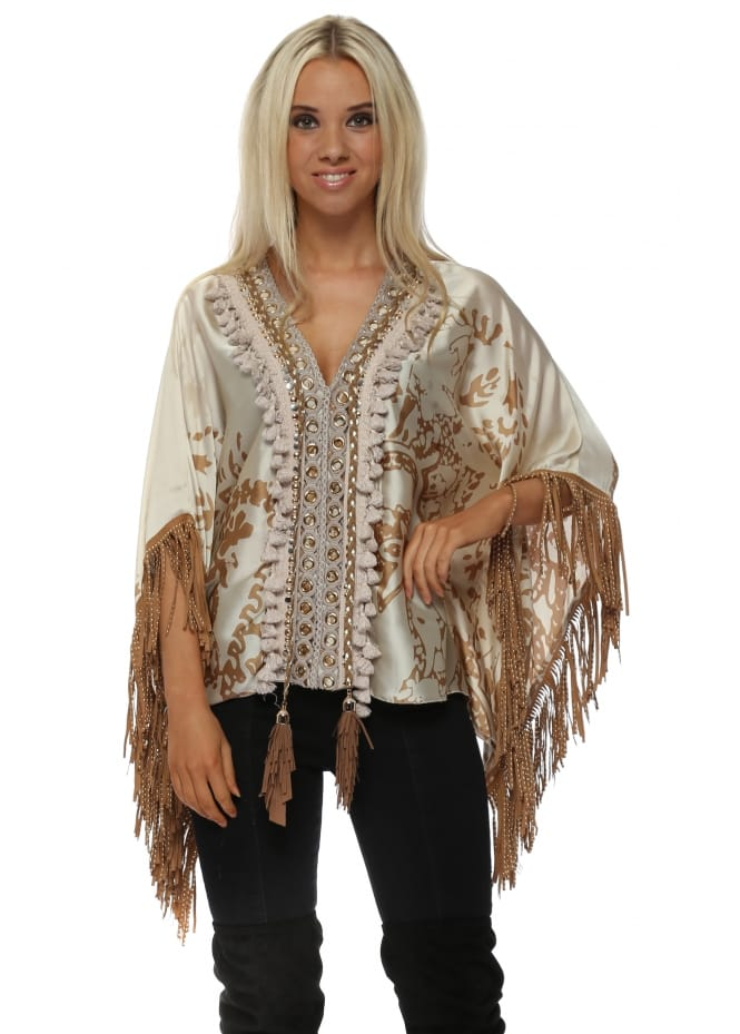 Laurie & Joe Beige Print Suede Studded Tasseled Short Kaftan Top
