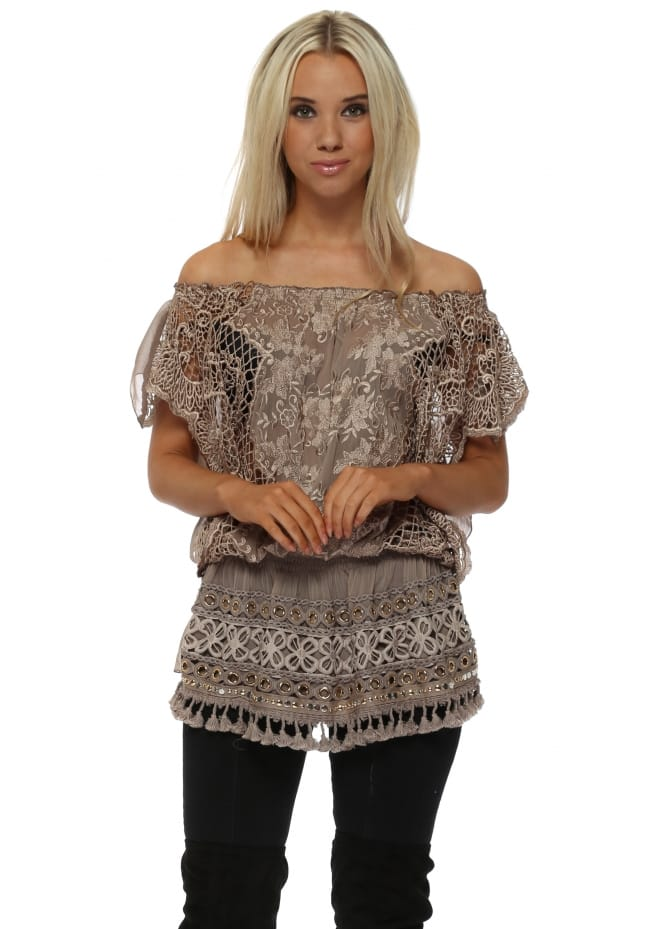 Laurie & Joe Taupe Crochet Lace Bardot Tunic Top