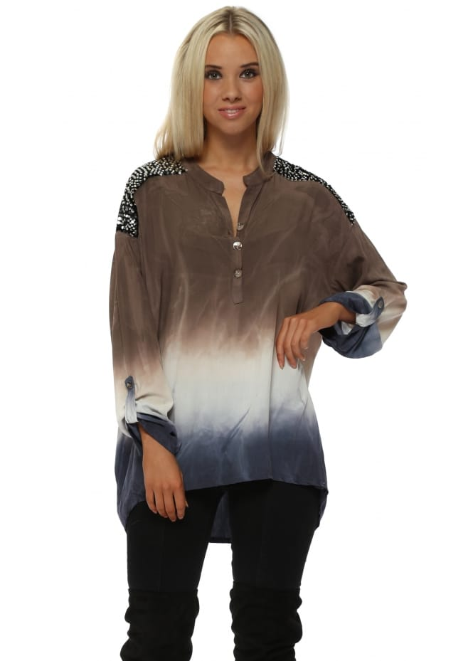 Made In Italy Mocha & Blue Ombre Sequinned Tunic Shirt