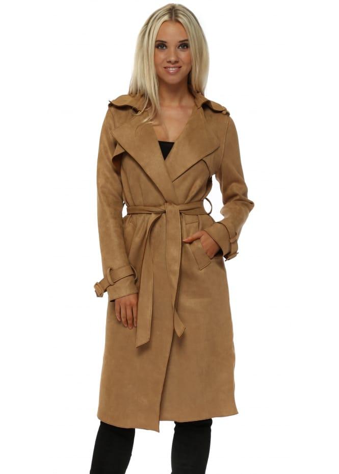 French Boutique Camel Nappa Suede Trench Coat
