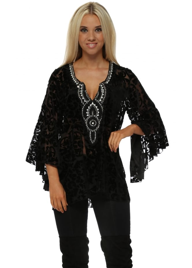 My Story Black Devoré Embellished Flared Sleeve Top
