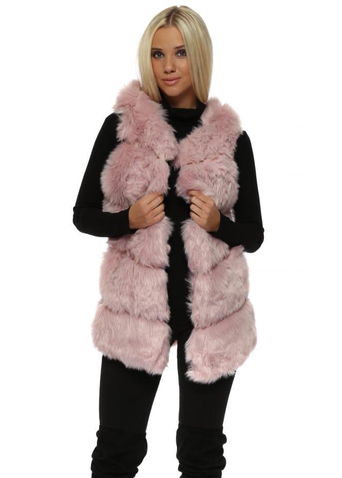 French Boutique Pretty Pink Faux Fur Long Gilet