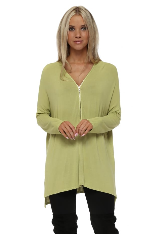 A Postcard From Brighton Flis Golden Lime Stepped Back Zip Top