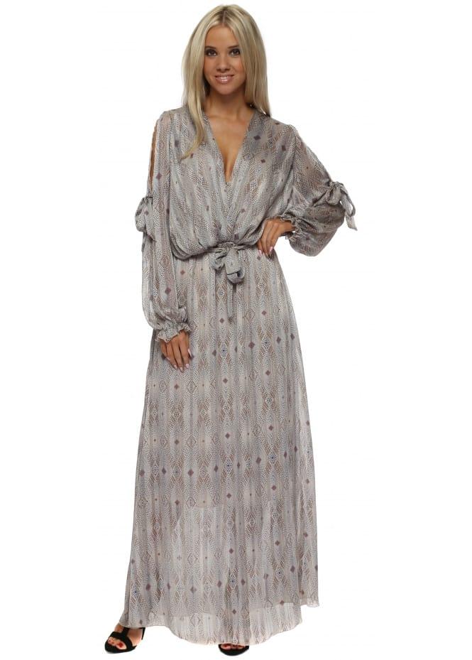 Briefly Beige Print Bow Tie Cross Over Chiffon Maxi Dress