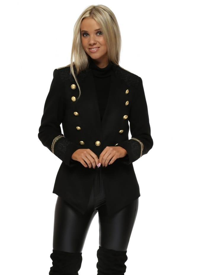 Briefly Black Military Jacket With Gold Buttons