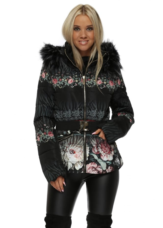 French Boutique Black Floral Print Quilted Faux Fur Hooded Jacket