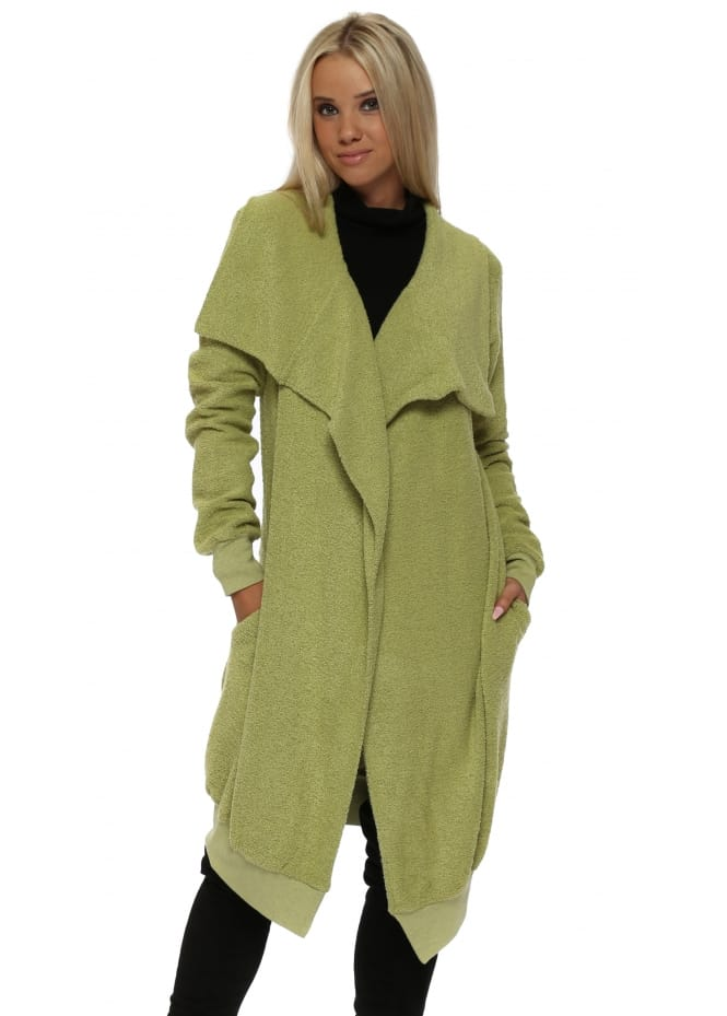 A Postcard From Brighton Courtney Poodle Wrap Coat In Golden Lime
