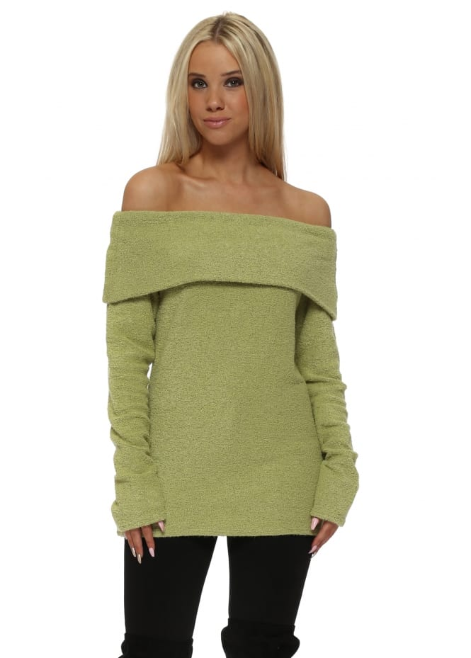 A Postcard From Brighton Cassandra Golden Lime Off The Shoulder Coodle Top